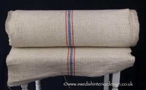 2 red blue stripe hemp linen roll
