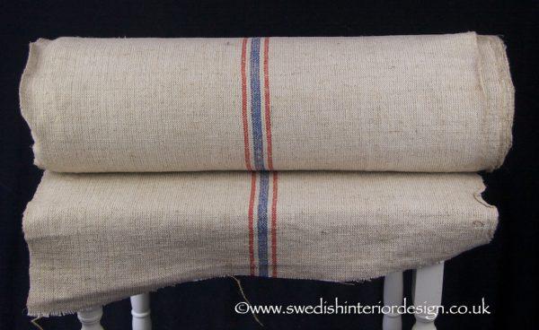2 red blue stripe hemp linen roll