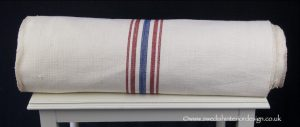 4 red blue stripe hemp linen roll