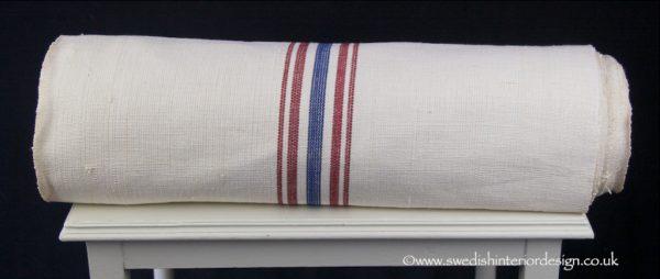 4 red blue stripe hemp linen roll