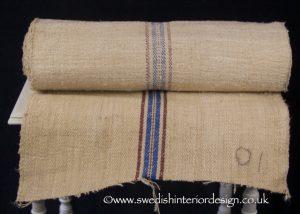 burgundy blue stripe hemp linen roll