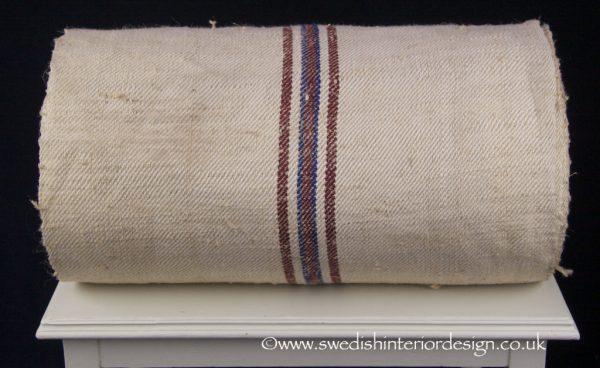 3 burgundy blue stripe hemp linen roll