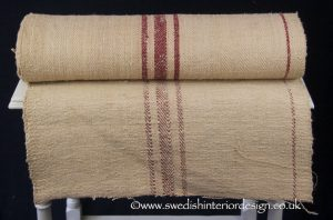 triple burgundy stripe hemp linen roll