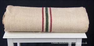 2 burgundy green stripe hemp linen roll
