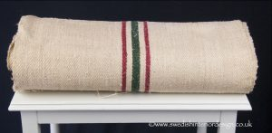 2 burgundy green stripe hemp linen roll