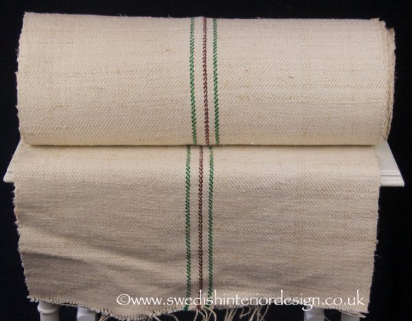2 green aubergine stripe hemp linen roll