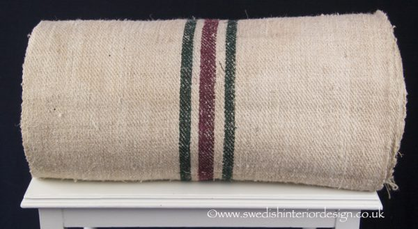 1 burgundy 2 green stripe hemp linen roll