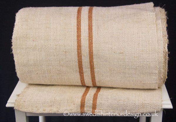 3 caramel stripe hemp linen roll