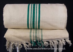 5 green stripe hemp linen roll