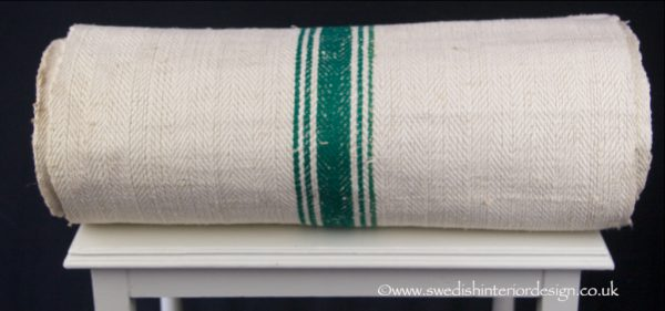 Green 5 stripe hemp linen roll