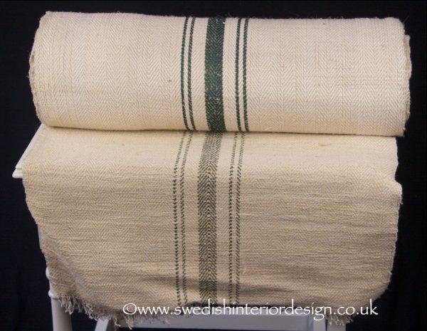 5 green stripe herringbone antique hemp linen