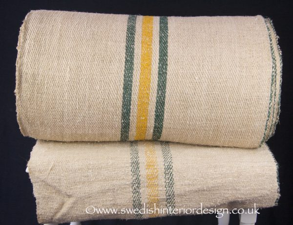 1 yellow 2 green stripe hemp linen roll