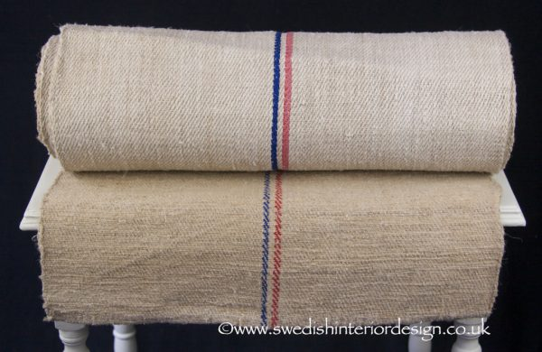 red blue antique hemp linen roll