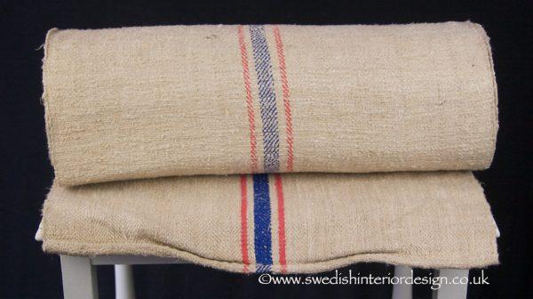 2 red blue country antique hemp linen roll