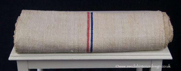 red & blue antique hemp linen roll