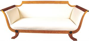 1900s Golden Birch Biedermeier Sofa Roundel Motifs 2