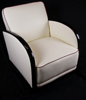 Single White Leather Ormulu Arm Swedish Art Deco Armchair