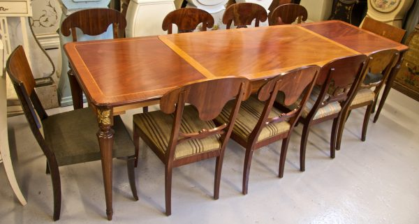 1900s 256cm Gustavian Biedermeier Inlaid Extendable Dining Table chairs