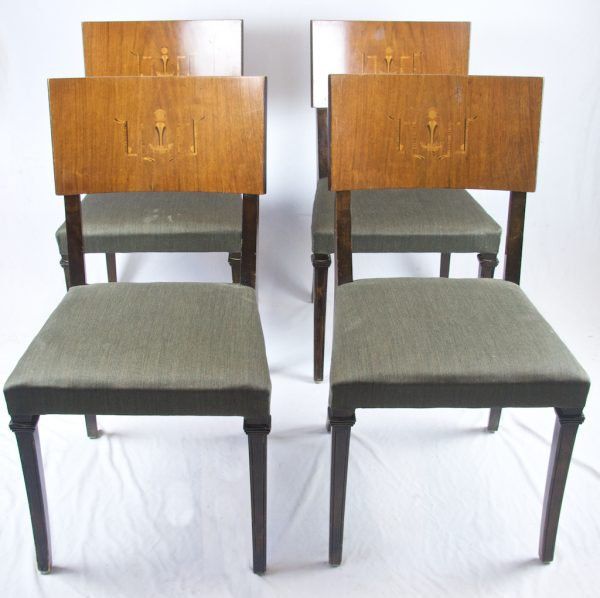 1900s Swedish Art Deco Intarsia Dining Chairs