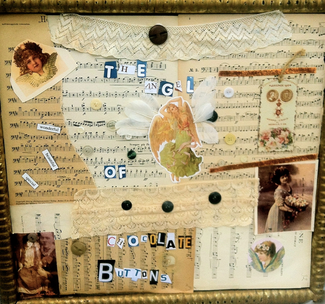 handmade picture collage present in frame