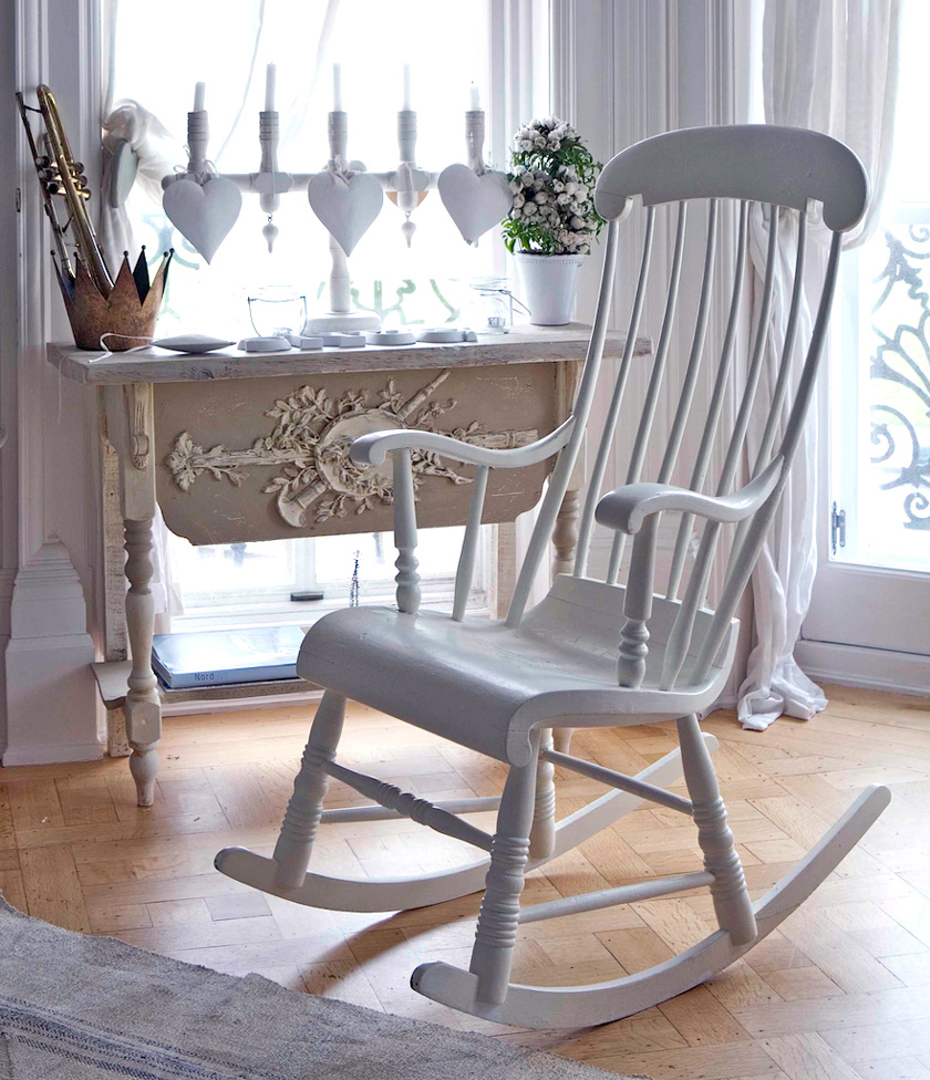 antique swedish 6 leg gungstol rocking chair