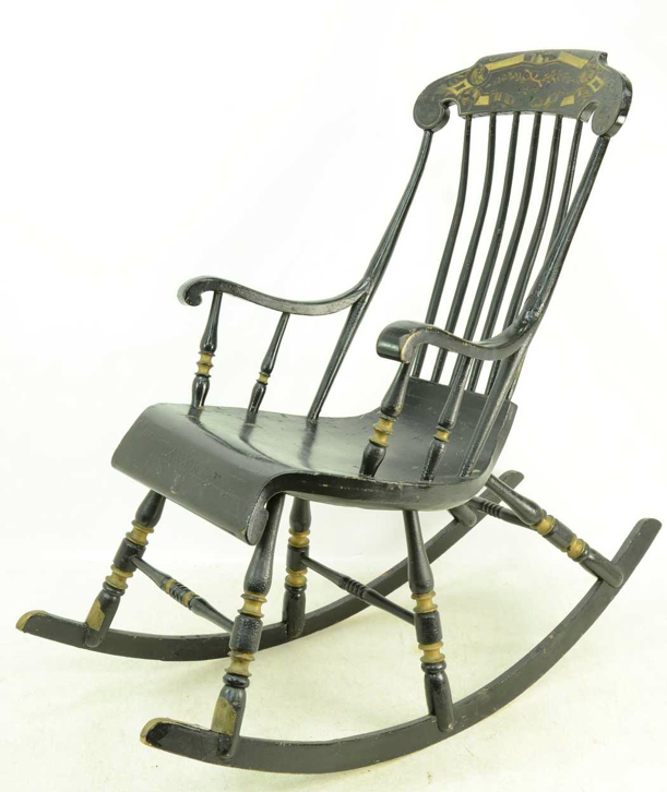 black folk art antique rocking chair