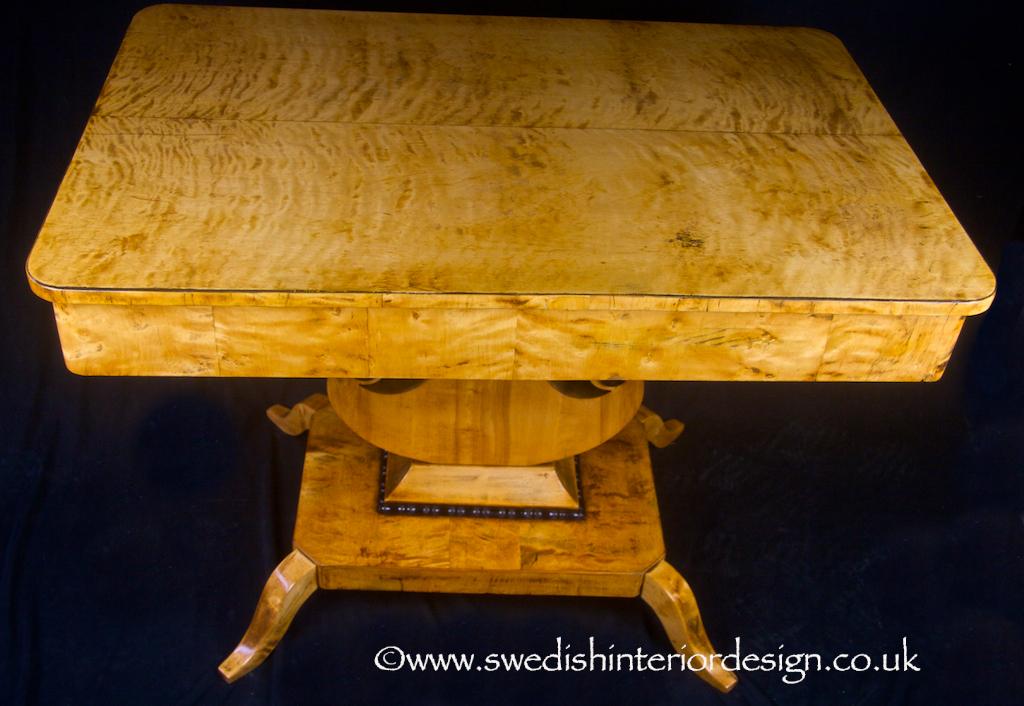 swedish biedermeier golden birch table