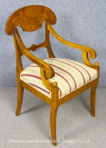 antique biedermeier carver chair orb motif