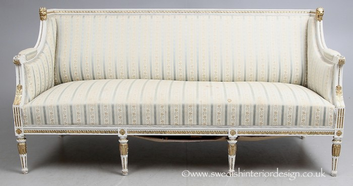 antique gustavian gilt sofa 190cm