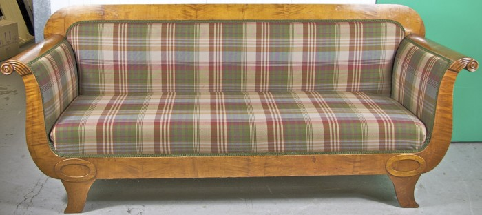 1800s antique swedish biedermeier sofa recovered in modern burberry fabric