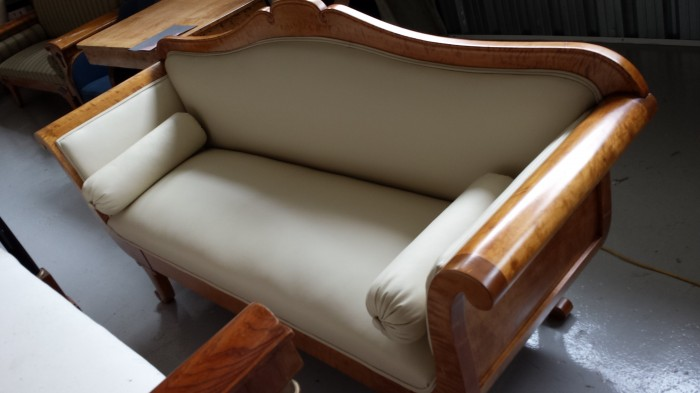 antique swedish tan leather biedermeier sofa