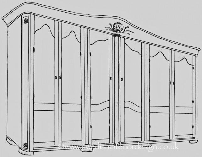 6 door bespoke armoire sketch