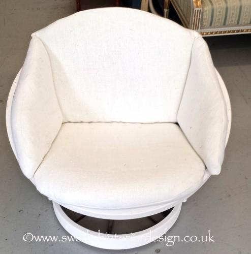 white swedish modern round chair