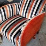 2 tone upholstered swedish antique art deco armchair