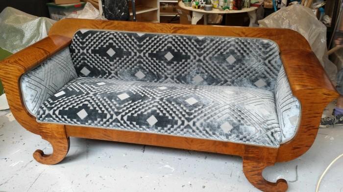 antique swedish biedermeier sofa upholstered in art deco velvet