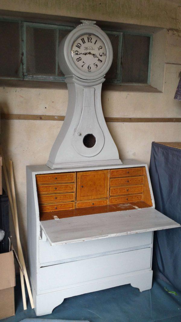 1800s Mora Clock Secretaire Desk