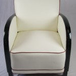 white leather antique art deco armchair