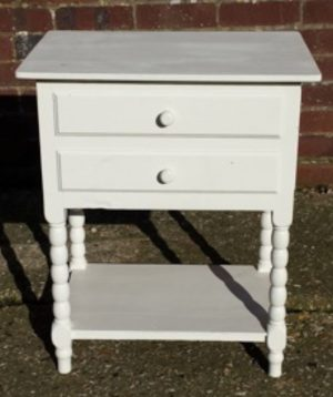 Pair of original 1800s country white north swedish bedside tables with a lift up lid and drawers with turned legs