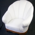 white leather art deco armchair