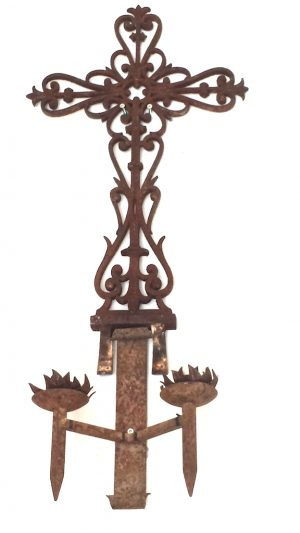 Bespoke Decorative Iron 1m Antique Cross with Candle Holder