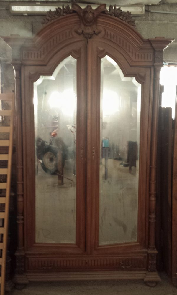 cab90 french antique mirror armoire