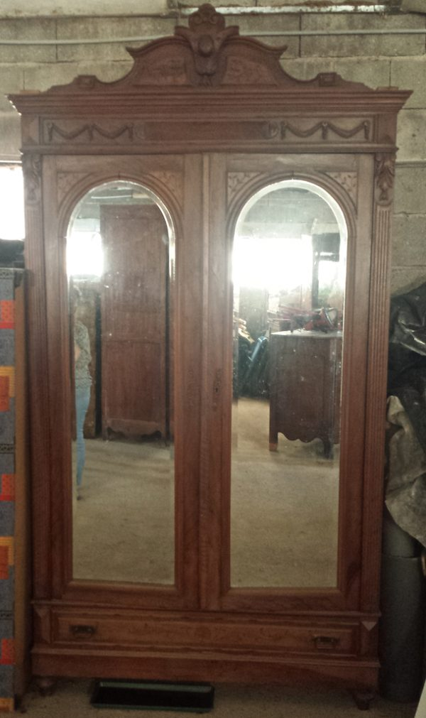 Cab 89 French 1800s antique mirror armoire