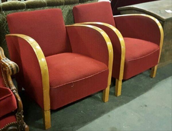 AR32 Swedish Antique Red Art Deco armchairs - pair