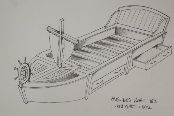 Bespoke Boys Wooden Boat Bed with sail and ships wheel