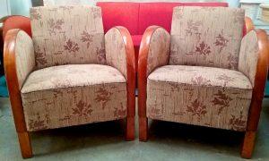 AR37 Antique Swedish Art Deco Armchairs pair floral