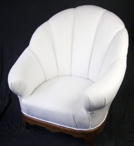 antique art deco shell armchair in white leather