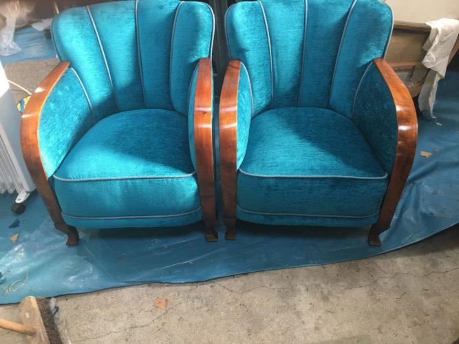 blue antique art deco armchairs
