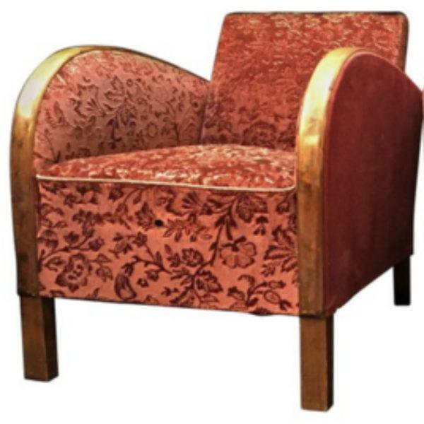 antique swedish art deco armchairs red