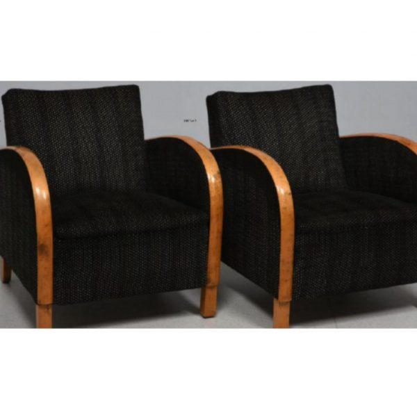 antique swedish art deco armchairs black