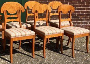 rare swedish antique biedermeier honey colour dining chairs 3